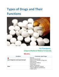 type of drugs types of drugs and their functions