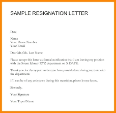 Formal Resignation Letter Example Formal Resignation Letter Sample With Notice Within