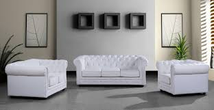 White Living Room Set Leather Ultra Modern 3pc Living Room Set Paris 3 White