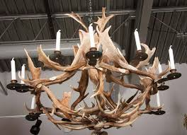 a twelve light european fallow deer antler chandelier by stan hughes for guinevere unelectrified