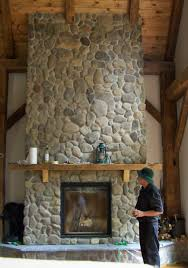 Cool River Rock Fireplace Veneer Photo Decoration Ideas