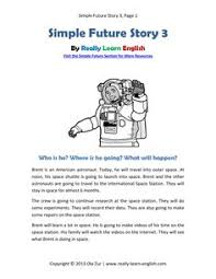 free printable story and exercises to practice the english simple future verb tense pdf