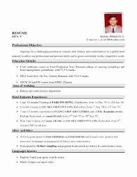 Sample Resume Format For Hotel Management Students Fresh Resume
