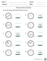 Telling Time Worksheets Printable Free Missing Hands Clock Grade 4 ...