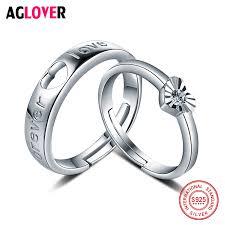 <b>Real</b> Solid <b>925 Silver</b> Wedding Ring <b>AAA</b> Cubic Crystal Heart ...