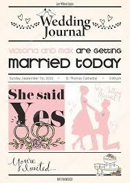 Wedding Invitation Newspaper Template Vintage Newspaper Or Journal Wedding Invitation Vector