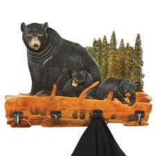 Black Wood Coat Rack Carved Wood Bear Family Coat Rack 58