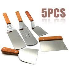 <b>1Set 5Pcs Stainless Steel</b> Spatula Set With Wood Handle Roast ...