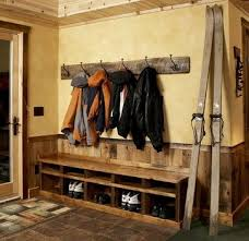 Wooden Coat And Shoe Rack Rustic Cabin Entryway With Reclaimed Wood Coat Rack Favorite 10