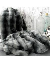 black wolf faux fur throw large grey