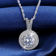 premium quality platinum plated white swiss cz diamond 925 sterling silver round pendant