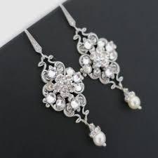 bridal earrings vintage wedding earrings chandelier pearl dangle with regard to vintage wedding jewellery