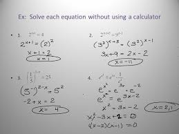 3 ex solve each equation without using a calculator 1 2 3 4