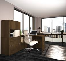 L Shaped Modern Desk Modern L Shaped Office Desk With Three File Drawers In Tuxedo