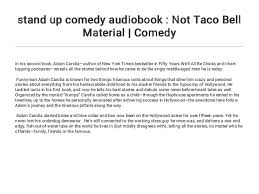 Stand Up Comedy Audiobook Not Taco Bell Material Comedy