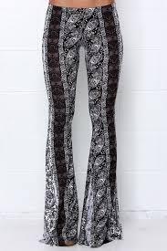 Flare Pants Pattern Beauteous Boho Flare Pants Black And Ivory Print Pants 4848