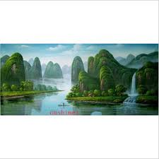 handmade pictures guilin landscape in china wall decor on wall oil painting on canvas famous chinese