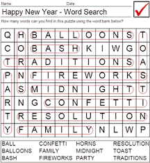 Printable New Year Worksheets New Year Word Search Answers
