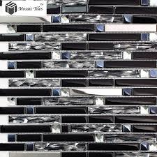 tst glass metal tile silver stainless steel porcelain base diamond shinning strip tiles kitchen backsplash deco