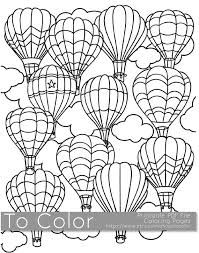 Small Picture Printable Hot Air Balloon Coloring Page for Adults PDF JPG