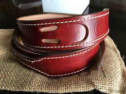 the saddle stitch follows the entire edge of the belt enhancing the look but also minimizing stretch in the belt over time