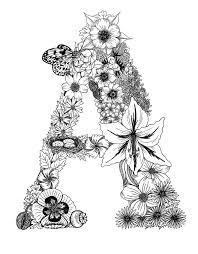 Letter A Monogram Floral Art Print