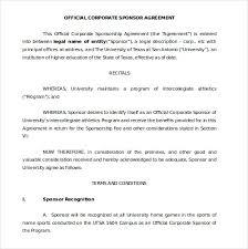 Sponsorship Agreement Template 10 Free Word Pdf Documents