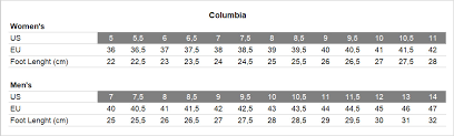 Columbia Size Chart Columbia Ws Crestwood Shoes