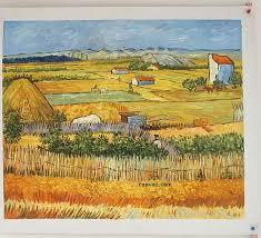 paintings of harvest at la crau by