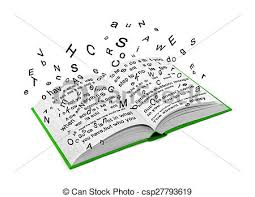 letters flying out of an open book csp27793619