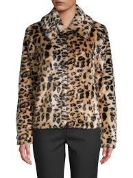saks fifth avenue women s brown leopard faux fur jacket