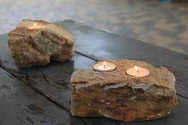 Rock Tea Light Holder Rock Candle Natural Granite Tea Light Candle Holder 3 Tea