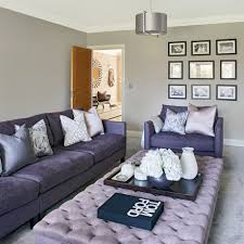 Modern Gray Living Room Modern Grey Living Room With Lilac Buttoned Footstool Ideal Home
