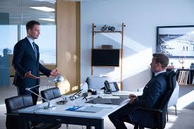 suits harvey specter office. SUITS \u2014 \u201cHome To Roost\u201d Episode 706 Pictured: (l-r) Patrick J. Adams As Michael Ross, Gabriel Macht Harvey Specter (Photo By: Shane Mahood/USA Suits Office