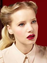 beauty red lips 50s hair style fashion pletion skin big eyes