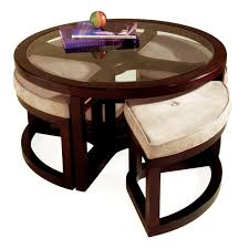 Coffee Table Stool Magnussen T1020 Juniper Wood Round Coffee Table With 4 Stools