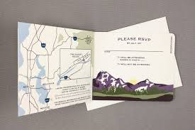 leavenworth purple mountains with birch trees 3pg booklet wedding invitation with map washington mountains te1