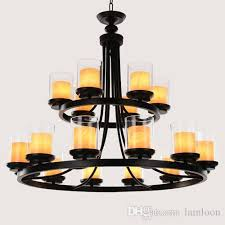 american rustic retro double layers led chandelier pendant chandeliers lighting engineering lamp for living room restaurant hotel villa bar
