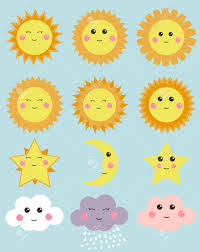 Clouds Design Cute Weather Sun Moon Stars And Clouds Design Elements For