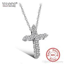 whole yhamni luxury original 925 sterling silver cross pendant necklace princess luxury diamond necklace pendant for las and women n10 silver