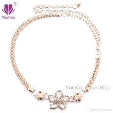 Gold Waist Chain Designs New Arrival Flower Design Clear Rhinestone Chain Belt Gold Waist Belt Wedding Women Belt Cinto Feminino Bl 653 Youkee Belt