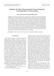 pdf brushless dc motor electromagnetic torque estimation with single phase cur sensing