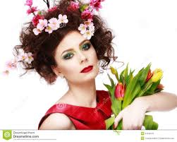 Flower Hair Style beauty spring girl with flowers hair style beautiful model woma 4737 by wearticles.com