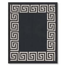 greek key border indoor outdoor rug black williams sonoma