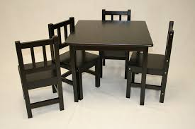 amusing kids table 4 chairs for your kid playroom decor elegant black solid wood kids