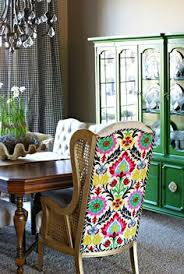 colorful fabric upholstered on the back of a traditional dining chair wonderful green chinadining rooms