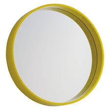 modern round wall mirror ideas with yellow plastic frame