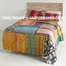 Handmade Queen Kantha Quilts Throws Patchwork Bedcover & Vintage Kantha Patchwork Quilt Blanket Throw Queen Bedding Adamdwight.com