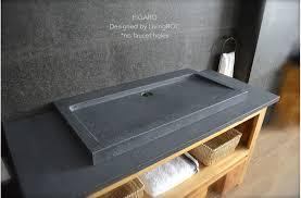 39 gray granite stone double faucet trough sink figaro