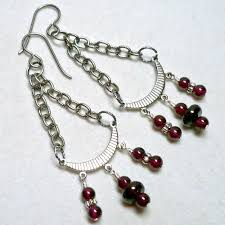 deep red garnet and antique silver chandelier earrings